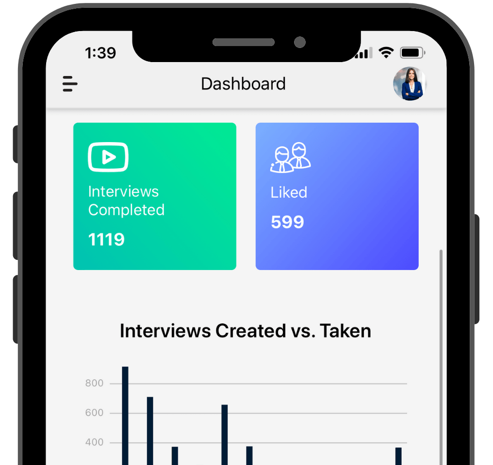 features dashboard displaying employers Interview Information from candidates